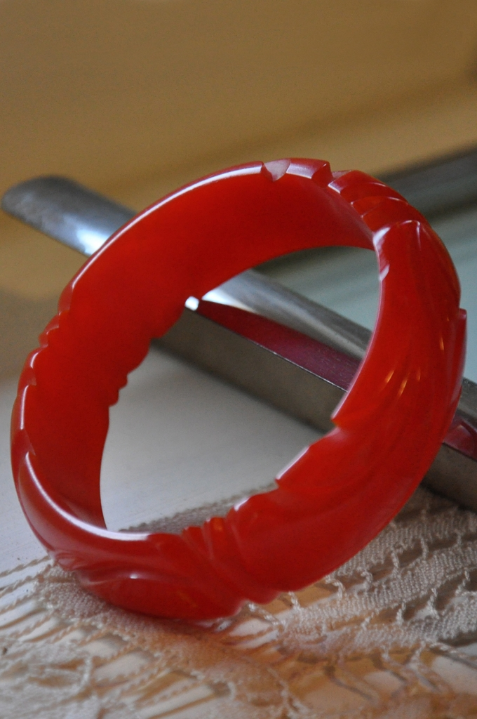 Christmas presents carved bakelite bracelet