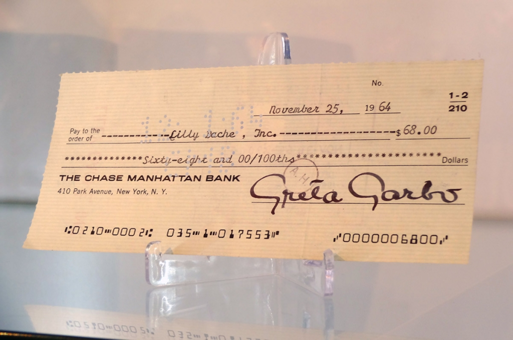 Greta Garbo check with signature